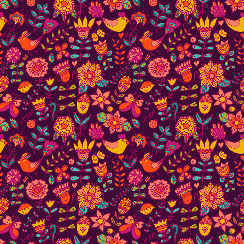 Seamless Texture With Flowers And Birds. Endless Floral Pattern.seamless Pattern Can Be Used For Wallpaper