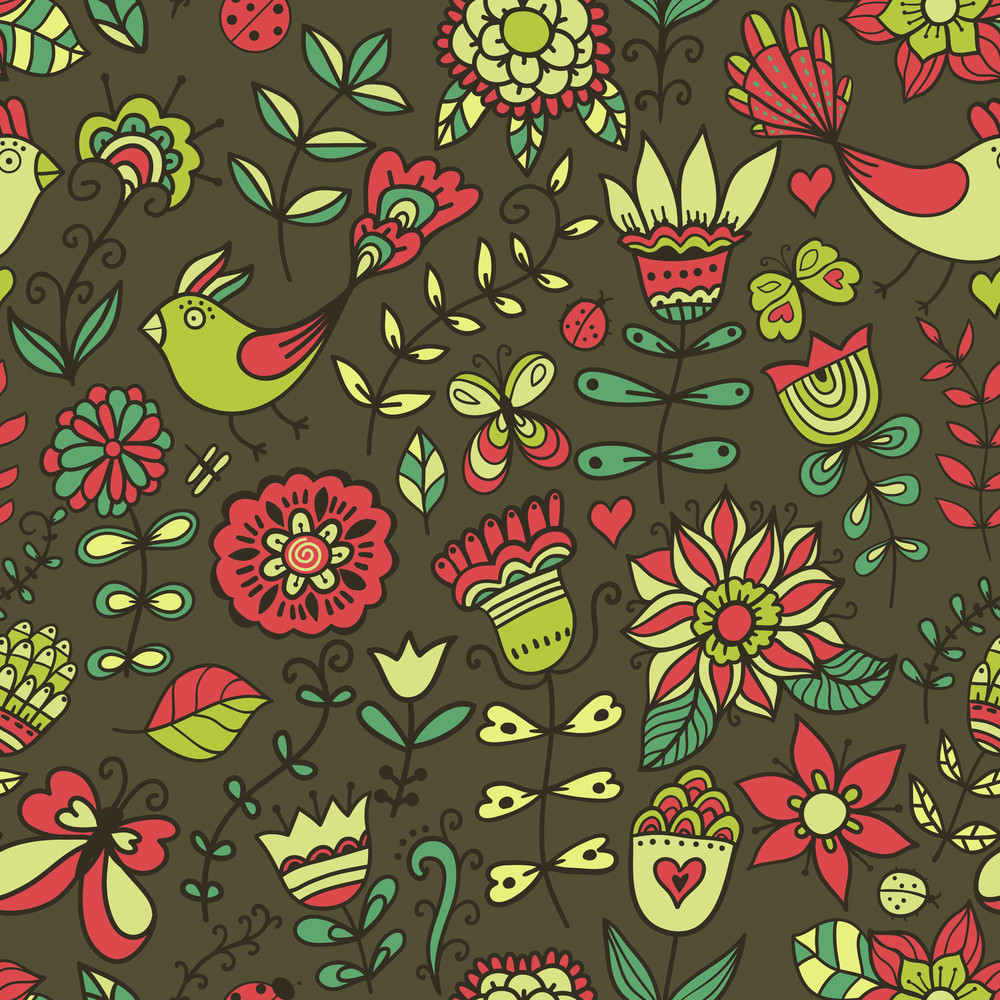 Seamless Texture With Flowers And Birds Endless Floral Patternseamless Pattern Can Be Used For Wallpaper