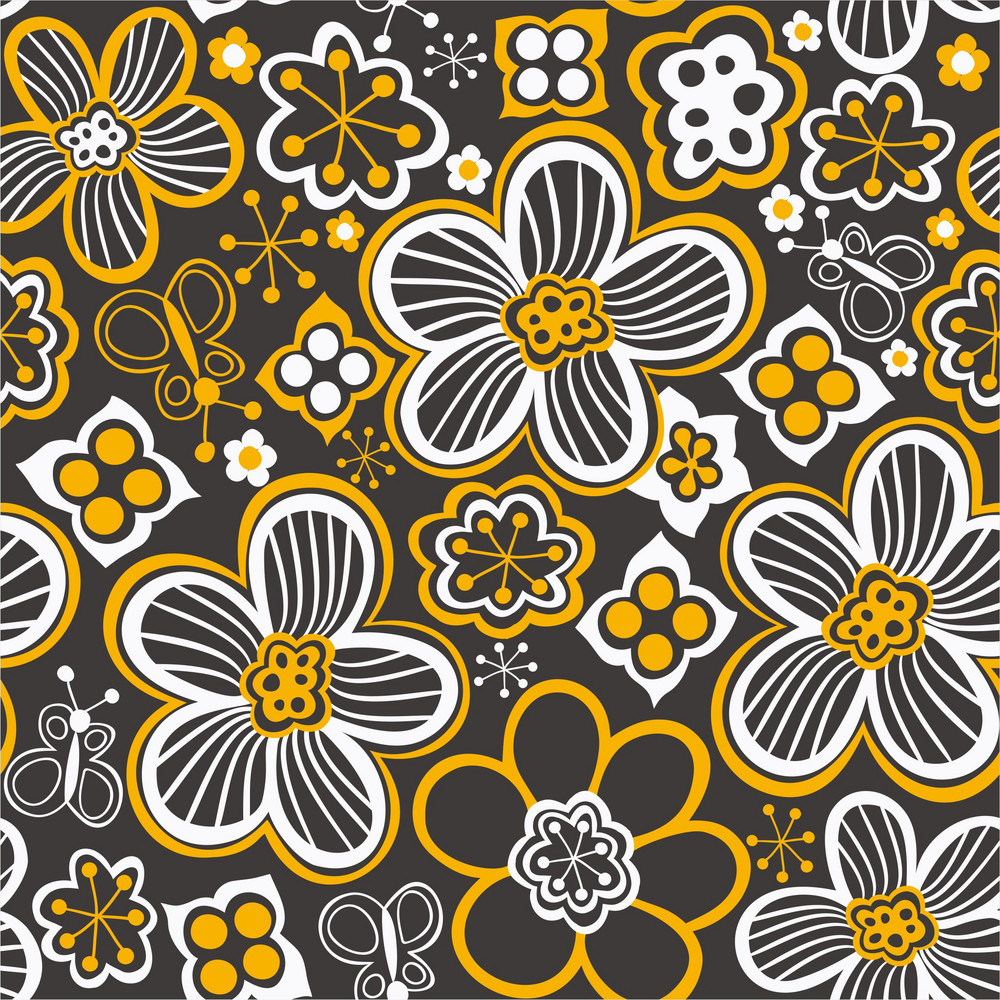 Seamless Texture With Flowers And Butterflies. Endless Floral Pattern. Seamless Pattern Can Be Used For Wallpaper