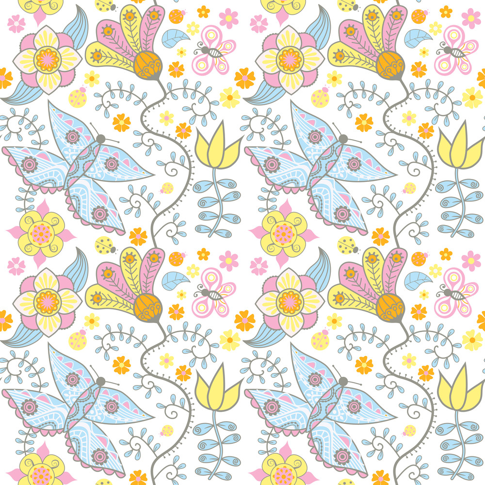 Seamless Texture With Flowers And Butterflies. Endless Floral Pattern