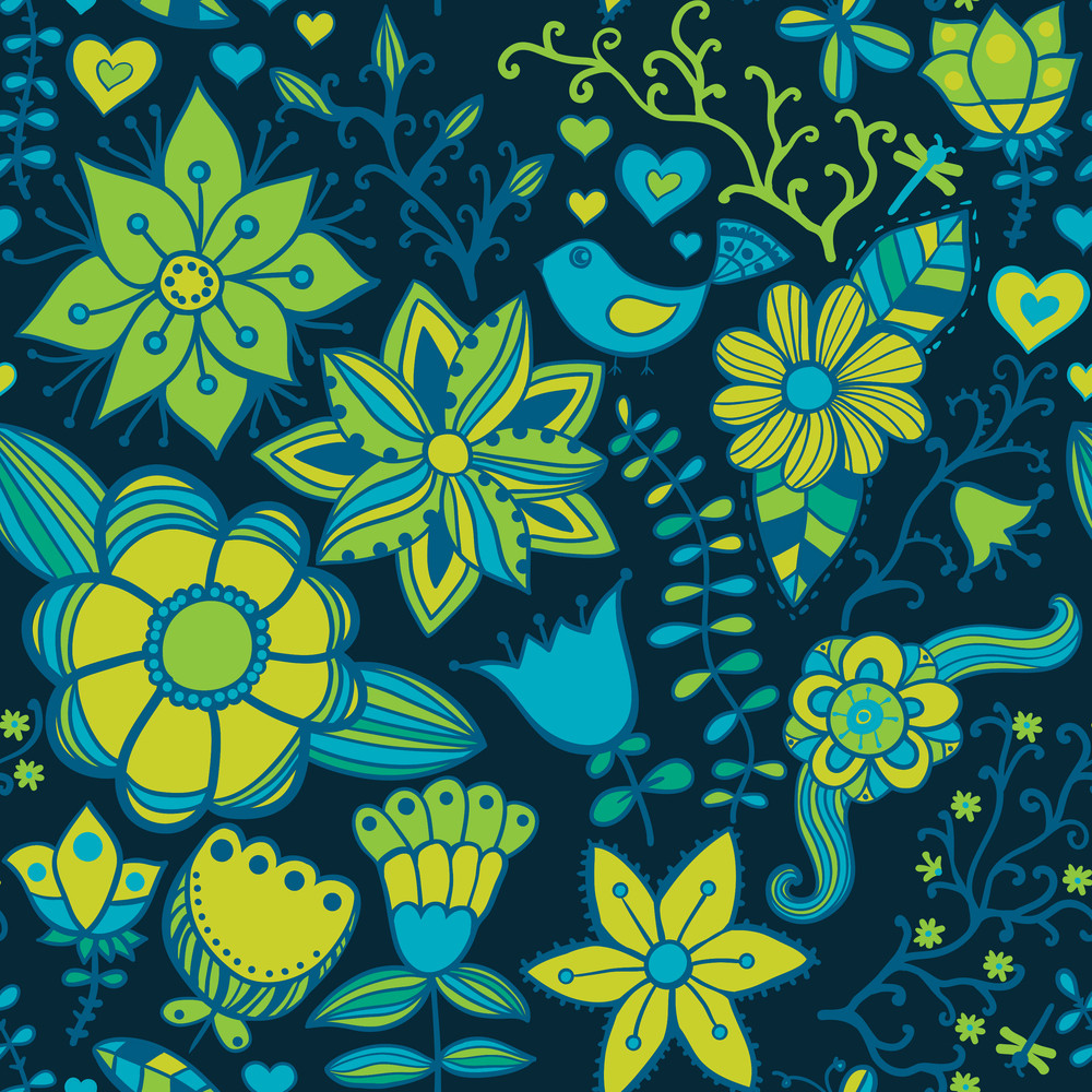 Seamless Texture With Flowers And Butterflies. Endless Floral Pattern.seamless Pattern Can Be Used For Wallpaper