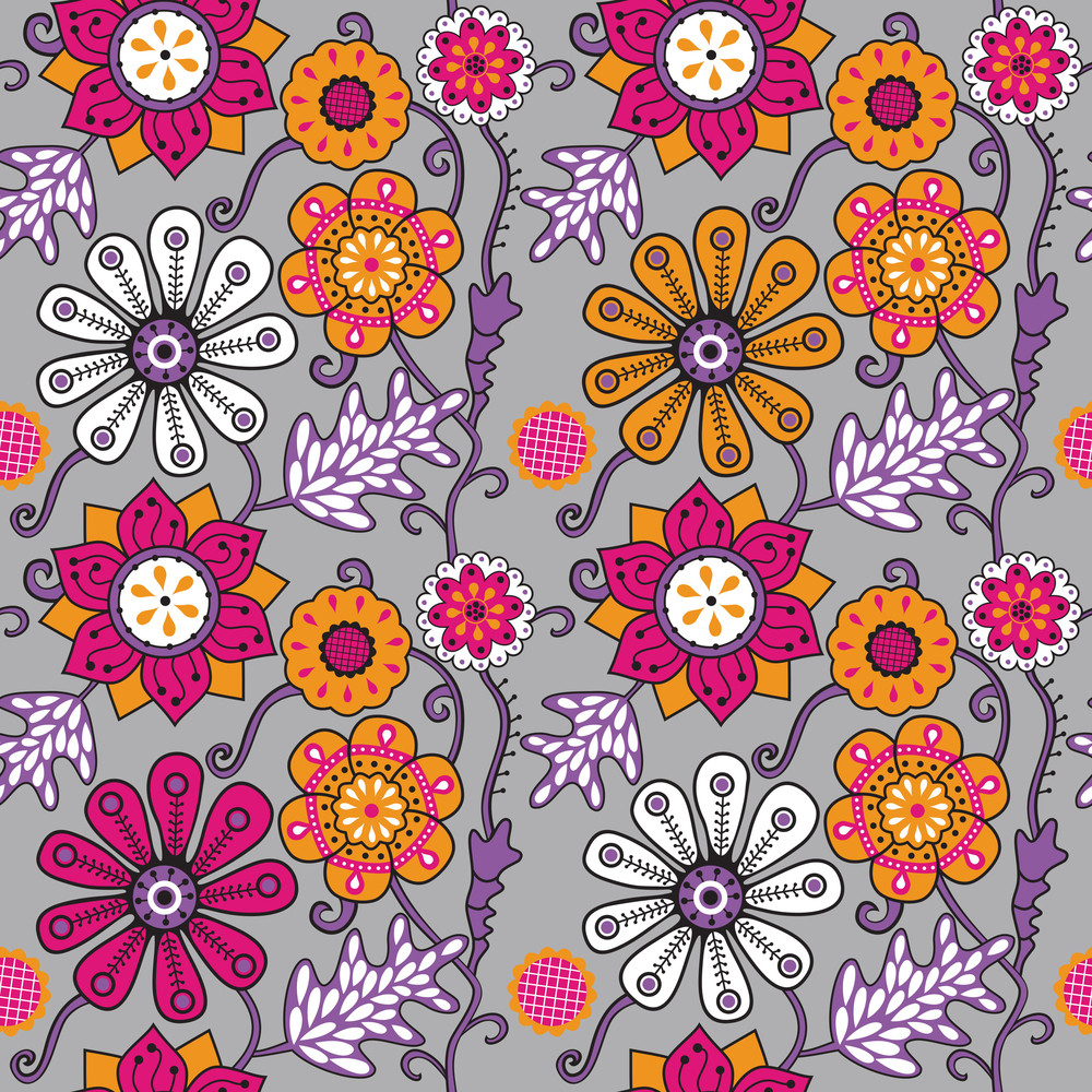 Seamless Texture With Flowers. Endless Floral Pattern. Seamless Pattern Can Be Used For Wallpaper