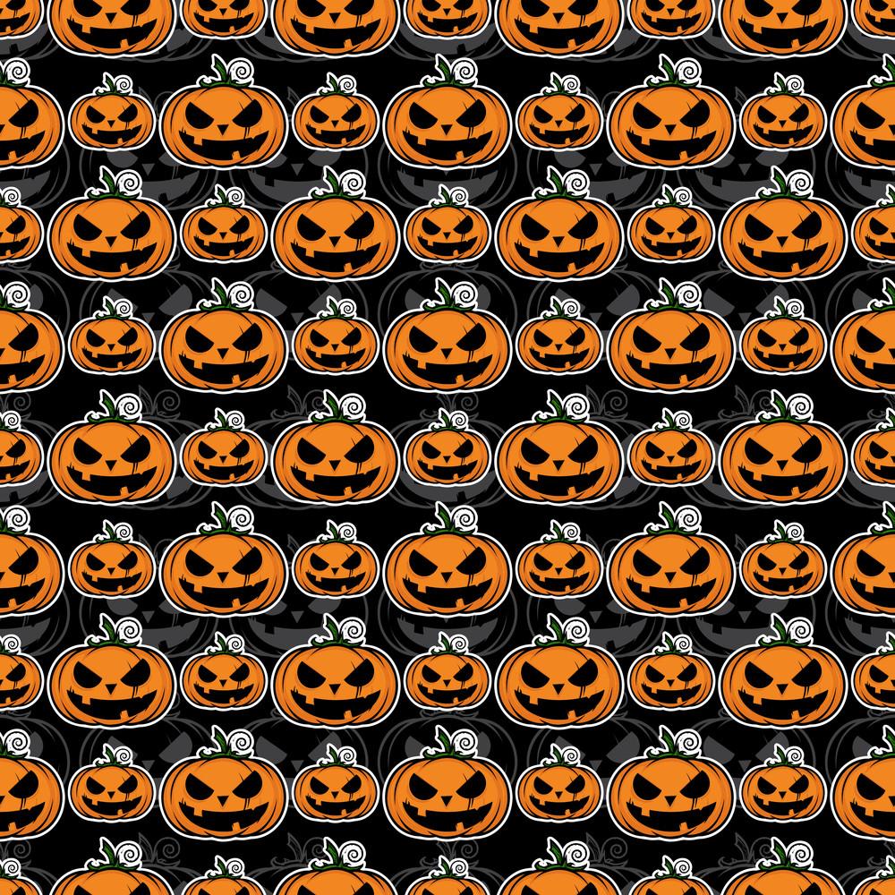 Seamless Texture With Halloween Pumpkin.