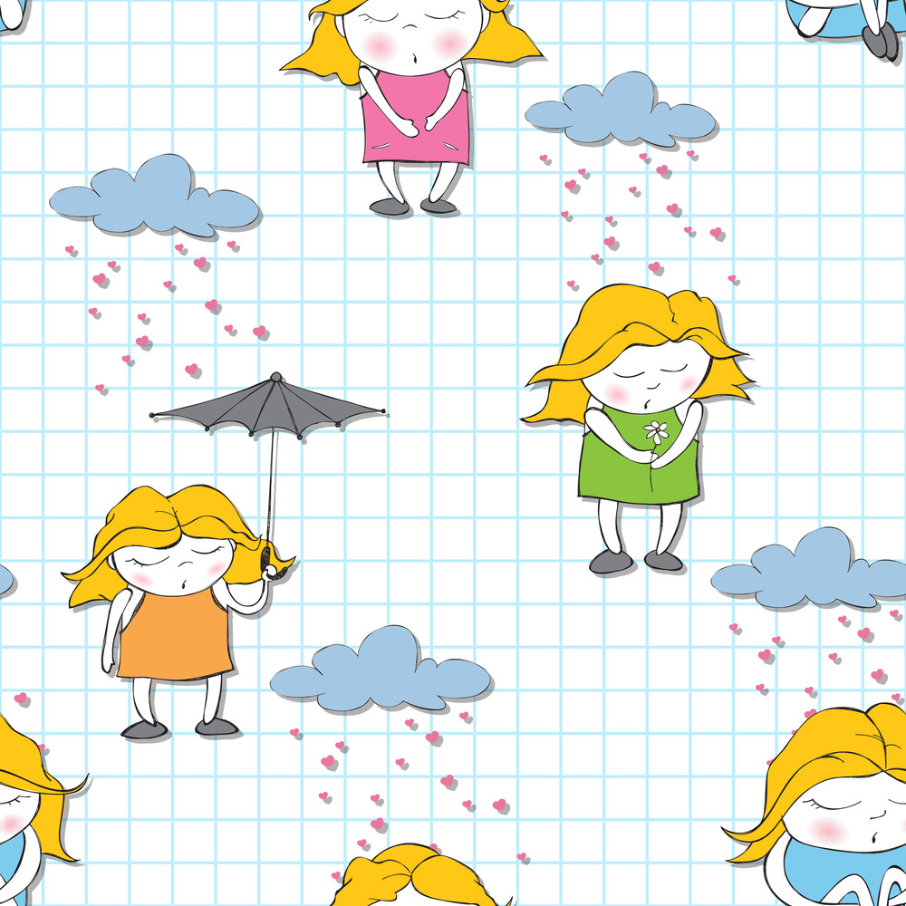 Seamless Texture With Sleeping Girls On A Writing-book-background. Vector Illustration.