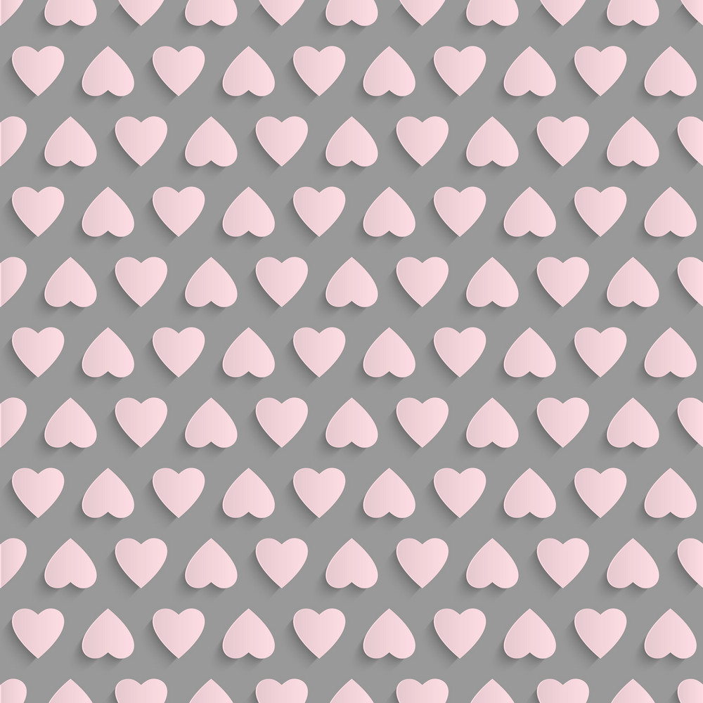 Seamless Vector Background With Paper Hearts
