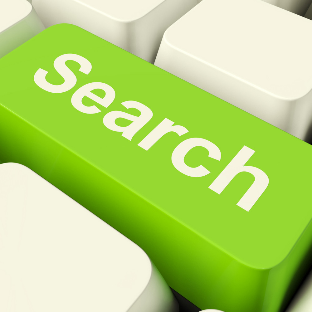 Search Computer Key In Green Showing Internet Access And Online Research