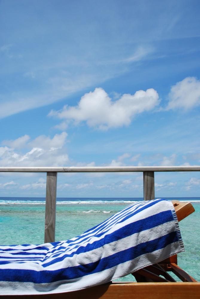 Seascape And Clouscape From Water Villa In Maldives