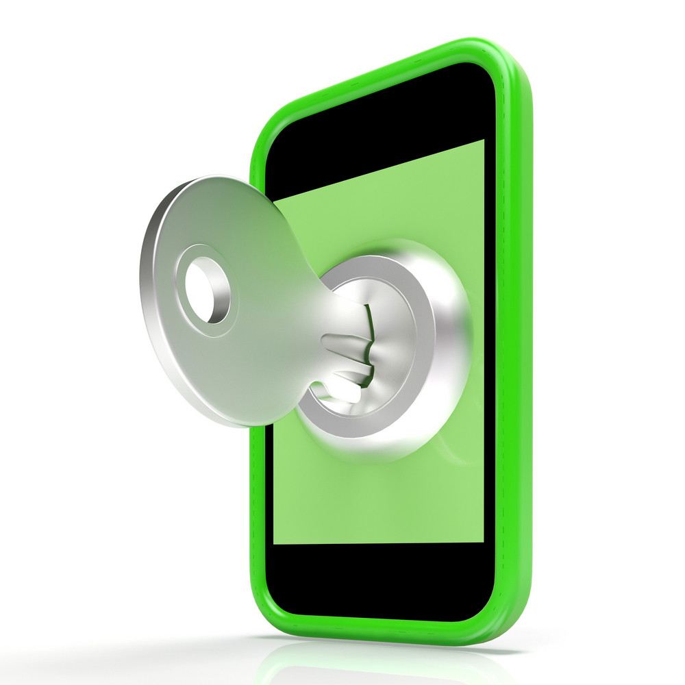 Security Key On Mobile Shows Encryption And Privacy