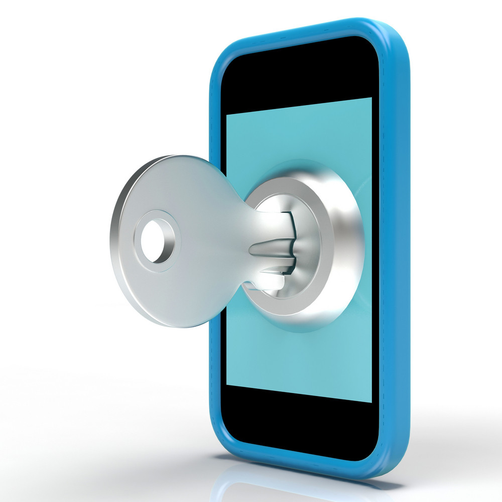 Security Key On Mobile Shows Secured And Privacy