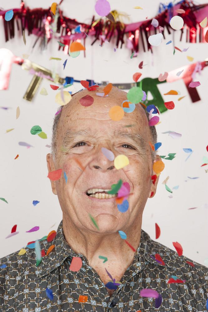 Senior man at party