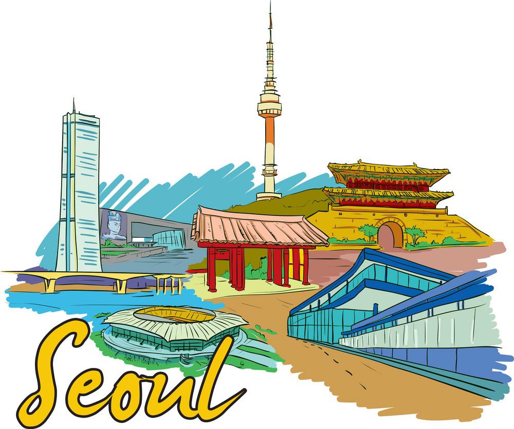 Seoul Vector Doodle
