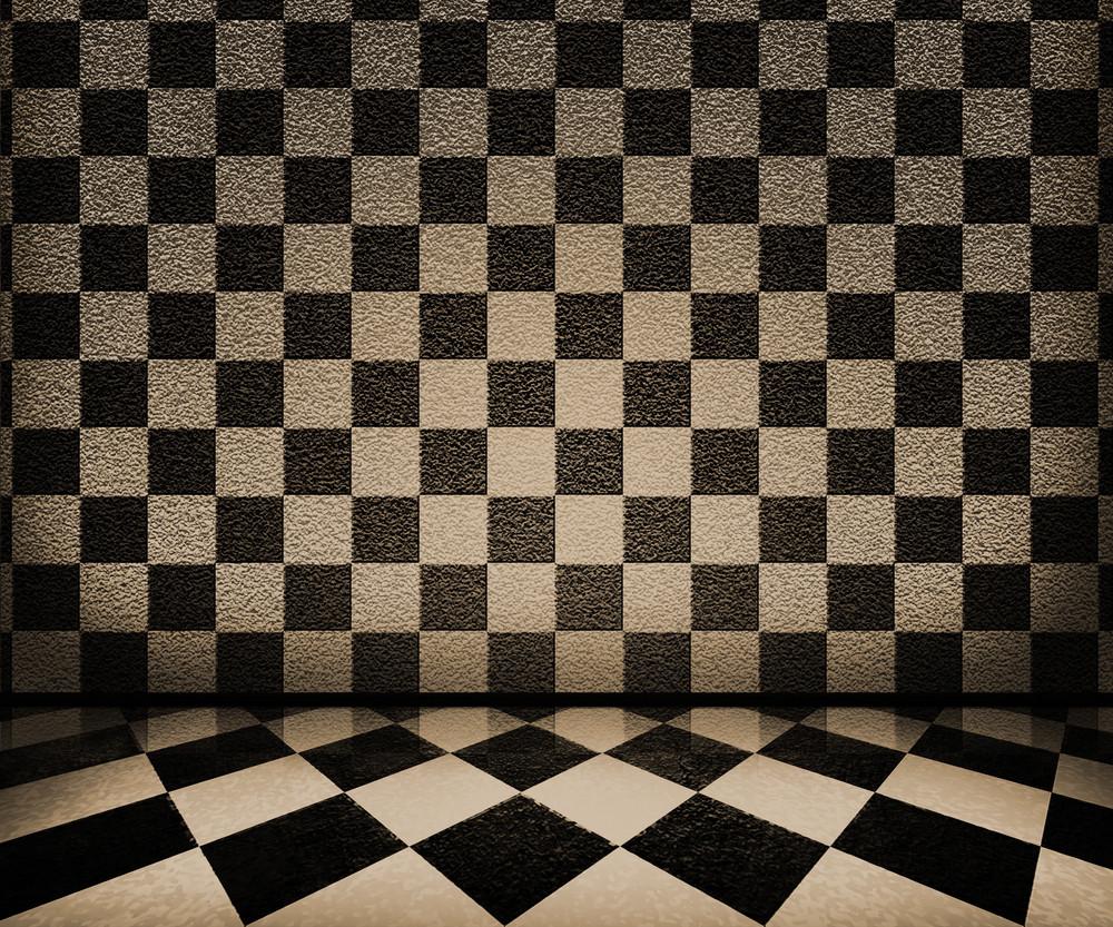 Sepia Chessboard Interior Background