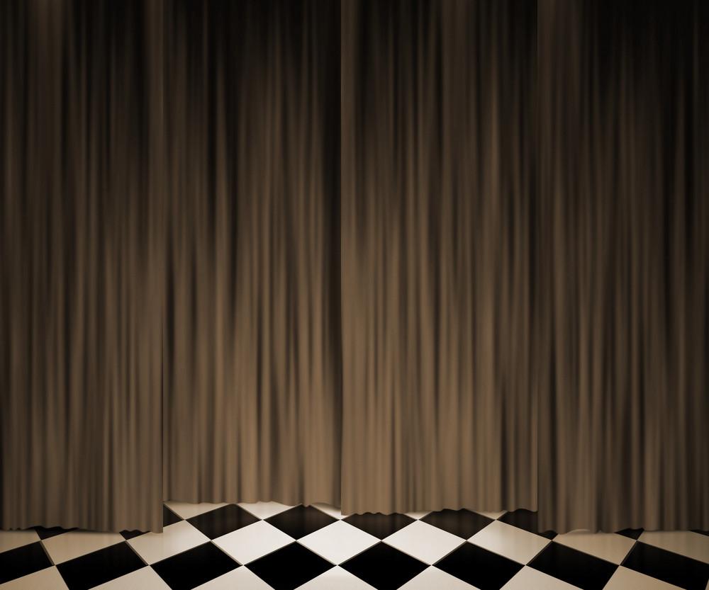 Sepia Vintage Curtain Spotlight Stage Background