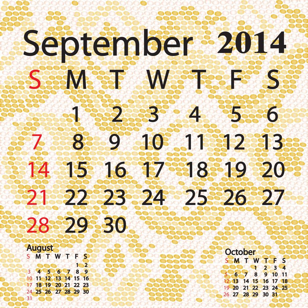 September 2014 Calendar Albino Snake Skin