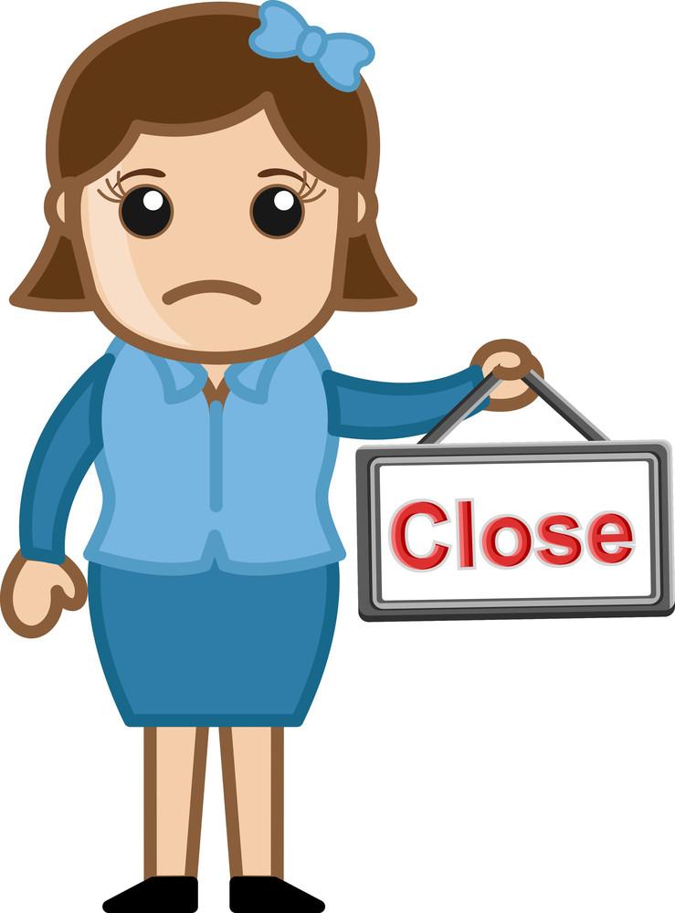 Service Closed - Business Cartoons Vectors