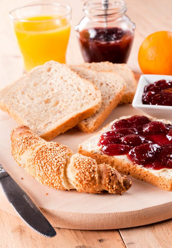 Sesame Croissant, Toast And Jam Breakfast