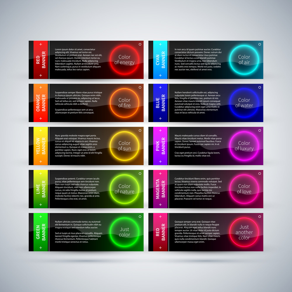 Set Of 10 Futuristic Colorful Banners With Glowing Circles.