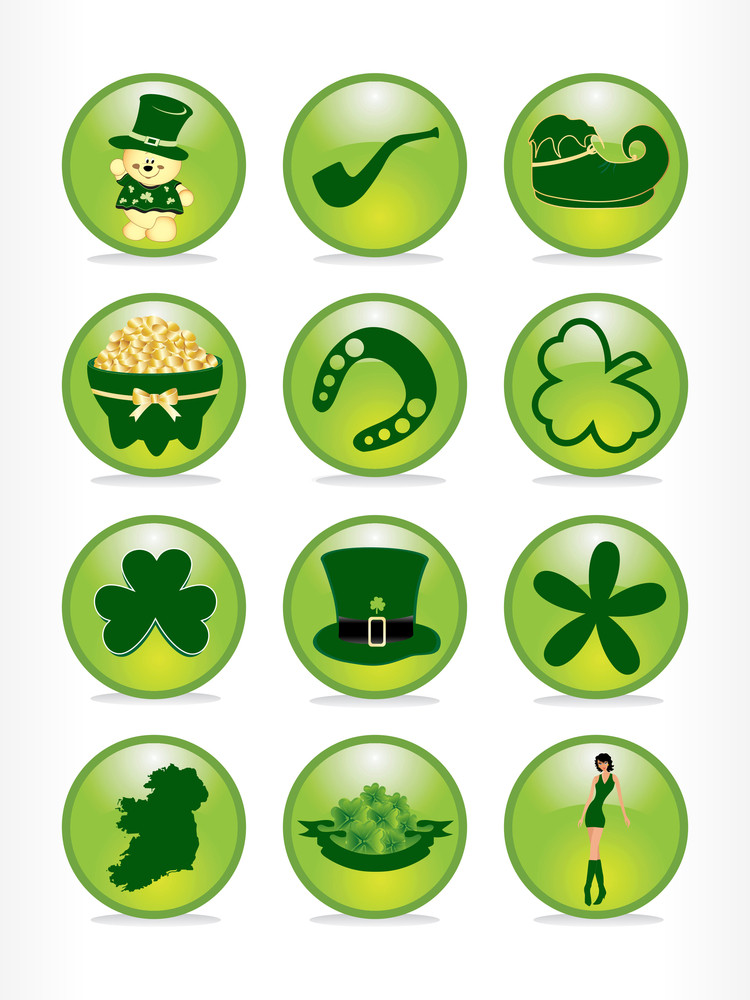 Set Of 12 St. Patrick's Pattern Button Elements 17 March