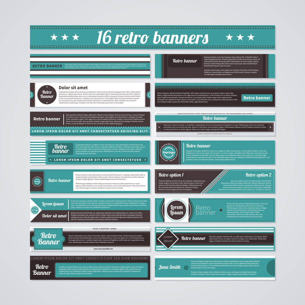 Set Of 16 Horizontal Bright Banners In Retro Style.