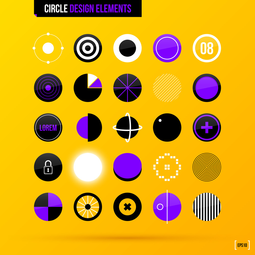 Set Of 25 Circle Design Elements On Bright Yellow Background In Modern Corporate Style. Eps10