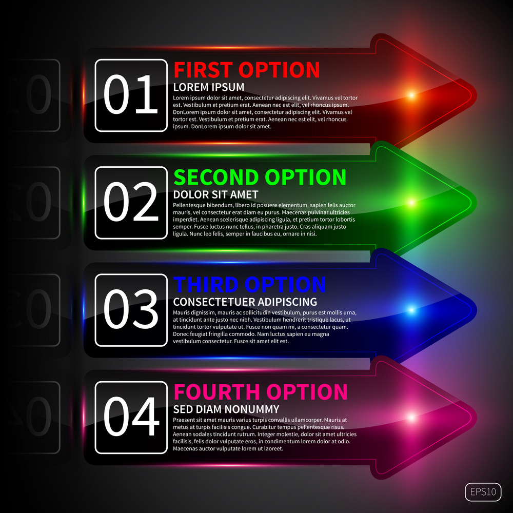 Set Of 4 Banners In The Form Of Arrows. Useful For Web Design.