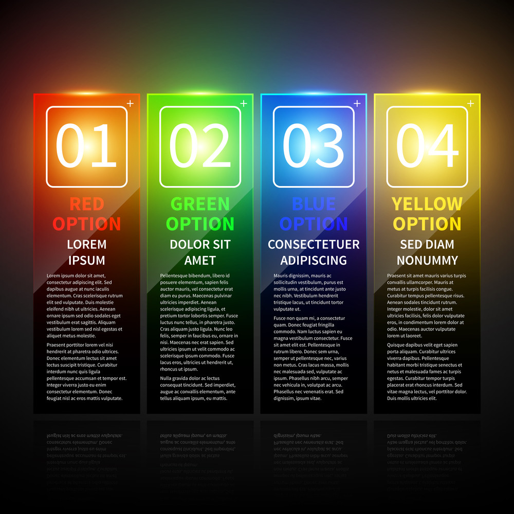 Set Of 4 Colorful Banners With Numbers From 1 To 4. Useful For Web Design.