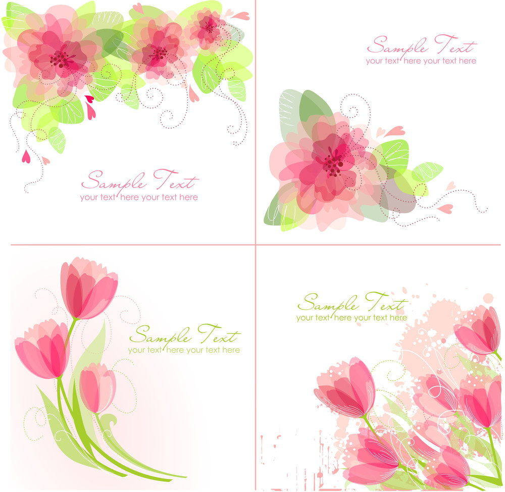 Set of 4 romantic flower backgrounds in pink and white colours set of 4 romantic flower backgrounds in pink and white colours ideal for wedding invitation mightylinksfo