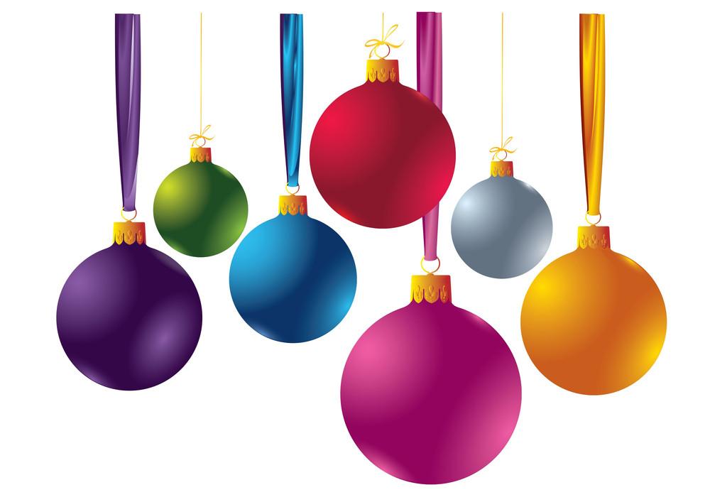 Set Of 7 Color Christmas Balloons. Vector.