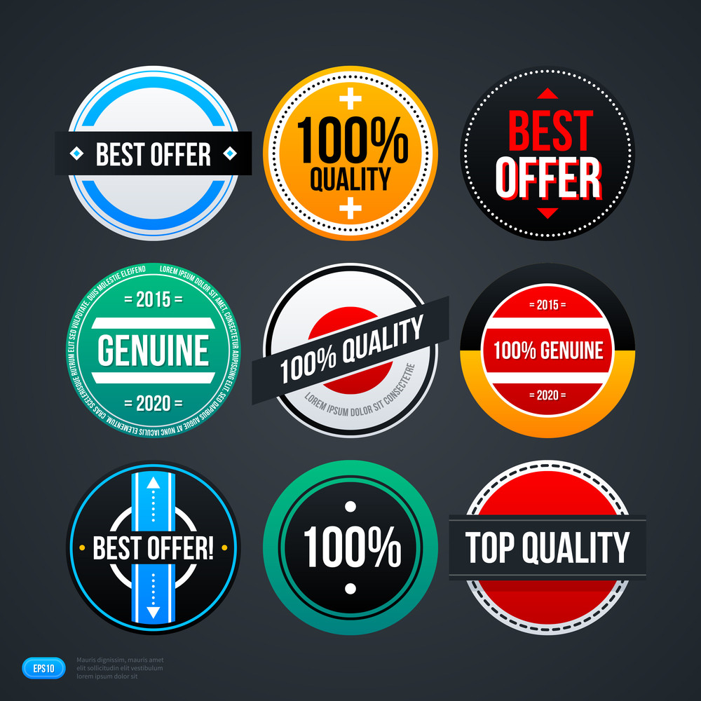 Set Of 9 Different Badges For Web. Eps 10