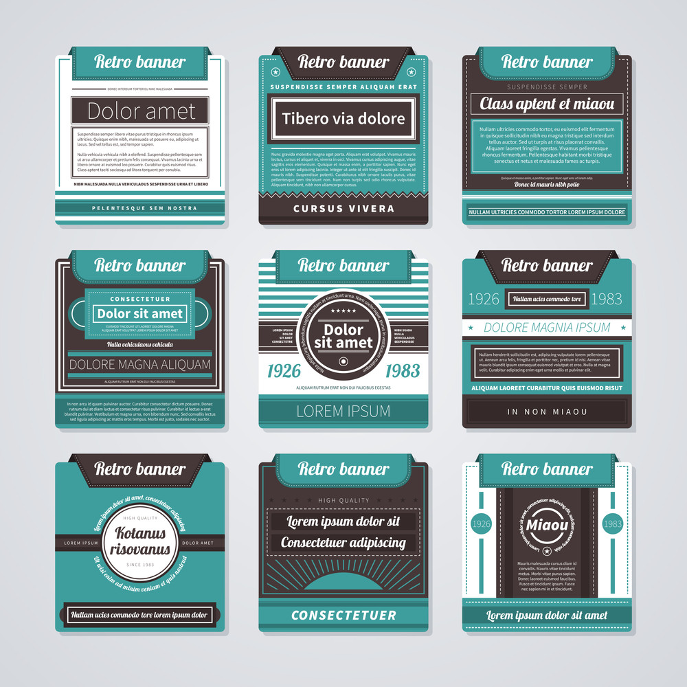 Set Of 9 Square Badges Or Banners In Retro Style.