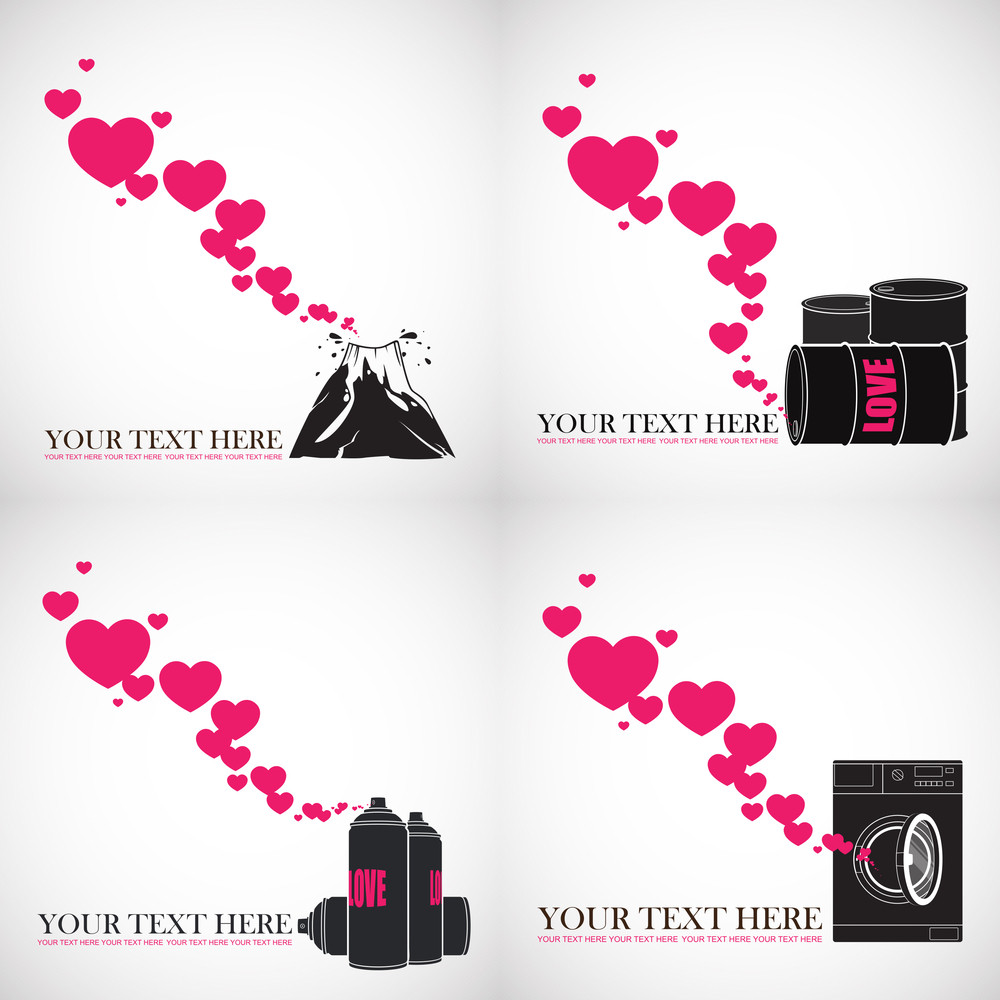 Set Of Abstract Vector Illustrations With Hearts And Elements.