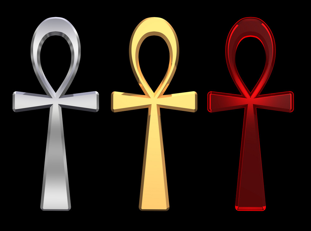 Set Of Ankh Symbols Isolated On The Black.