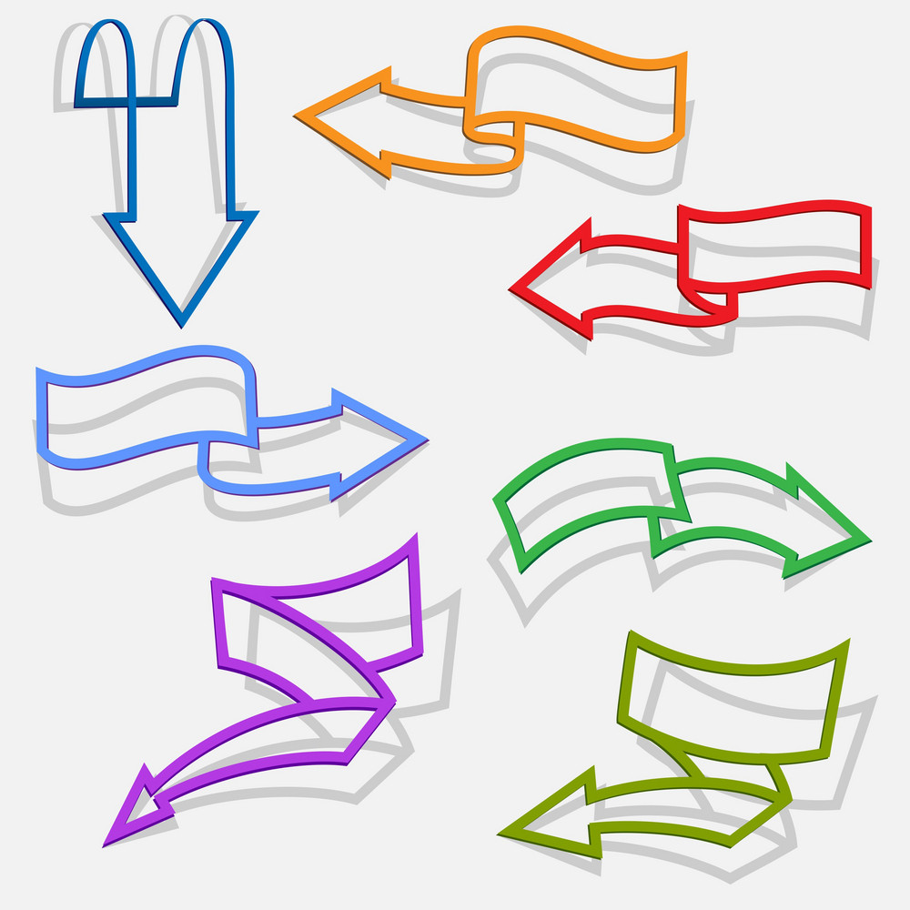 Set Of Arrows In Paper Style