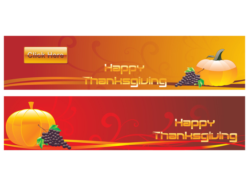 Set Of Banner For Thanksgiving Day