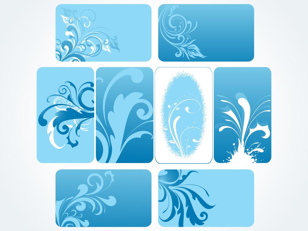 Set Of Blue Floral Frames