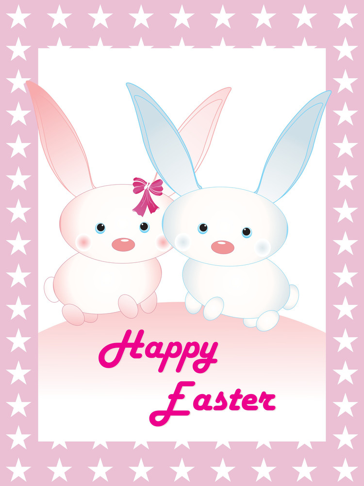 Set Of Bunny With Easter Background