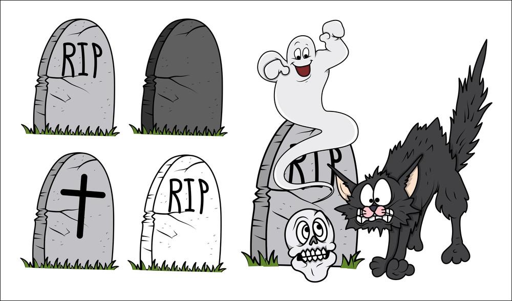 Set Of Cartoon Grave Vector