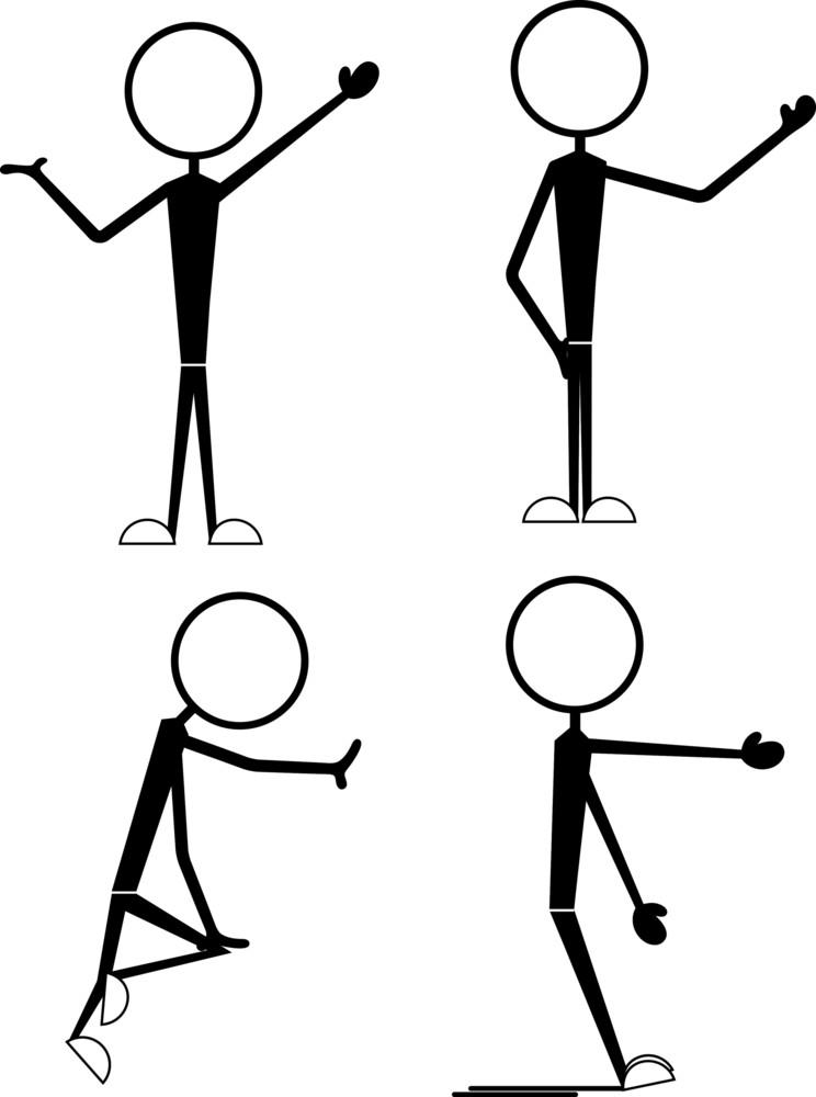 Set Of Cartoon Stick Figures