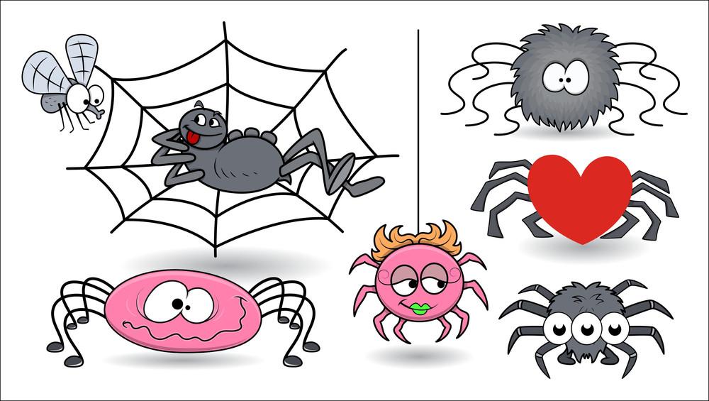 Set Of Cartoon Vector Spiders