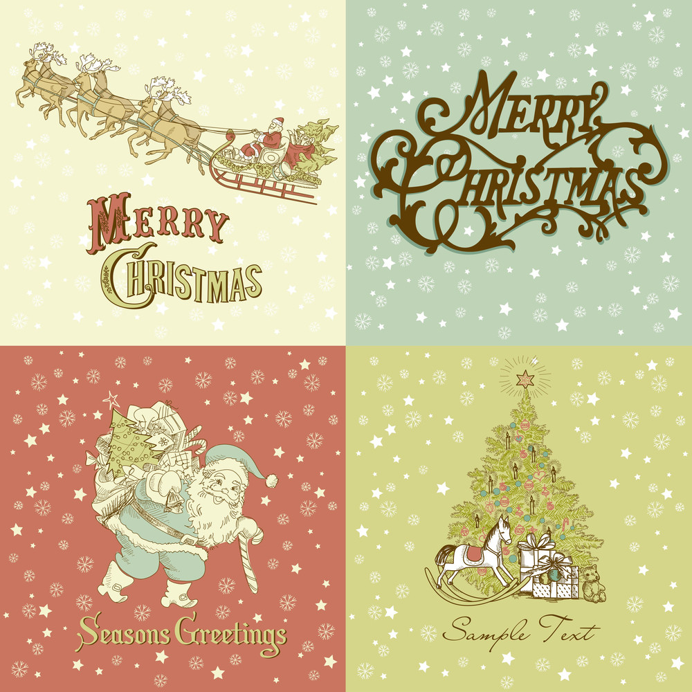 Set Of Christmas Cards In Vintage Style