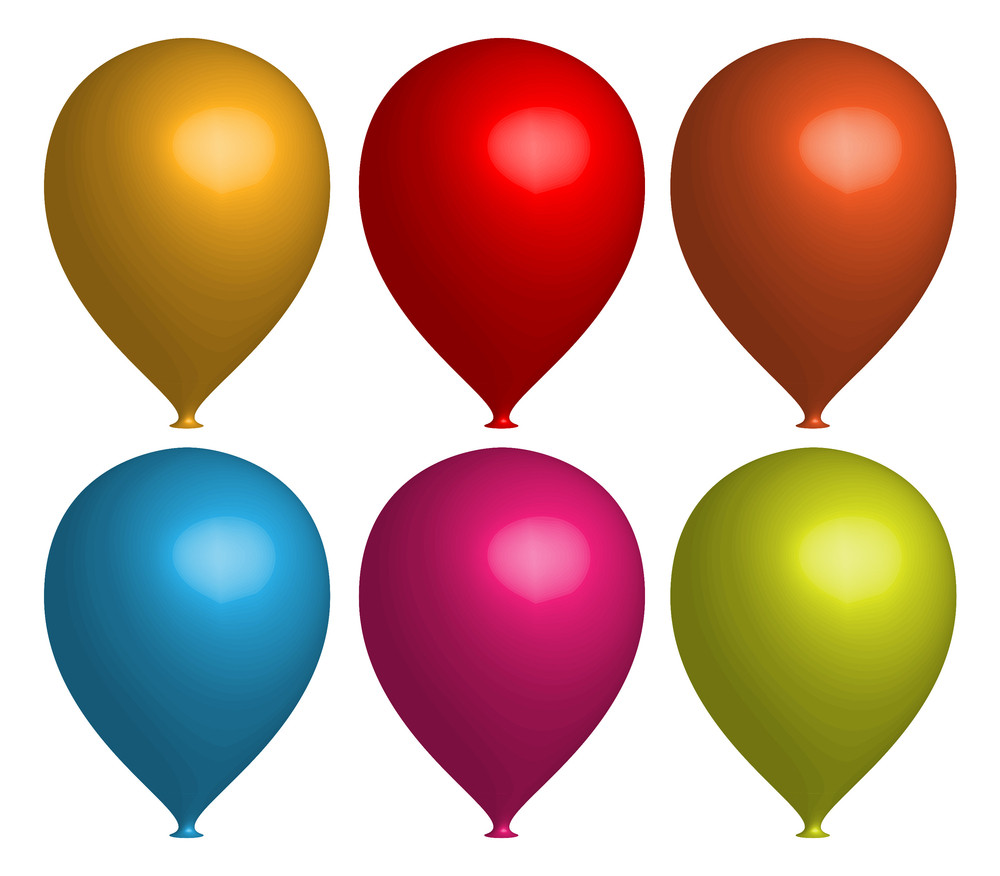 Set Of Colorful 3d Balloons