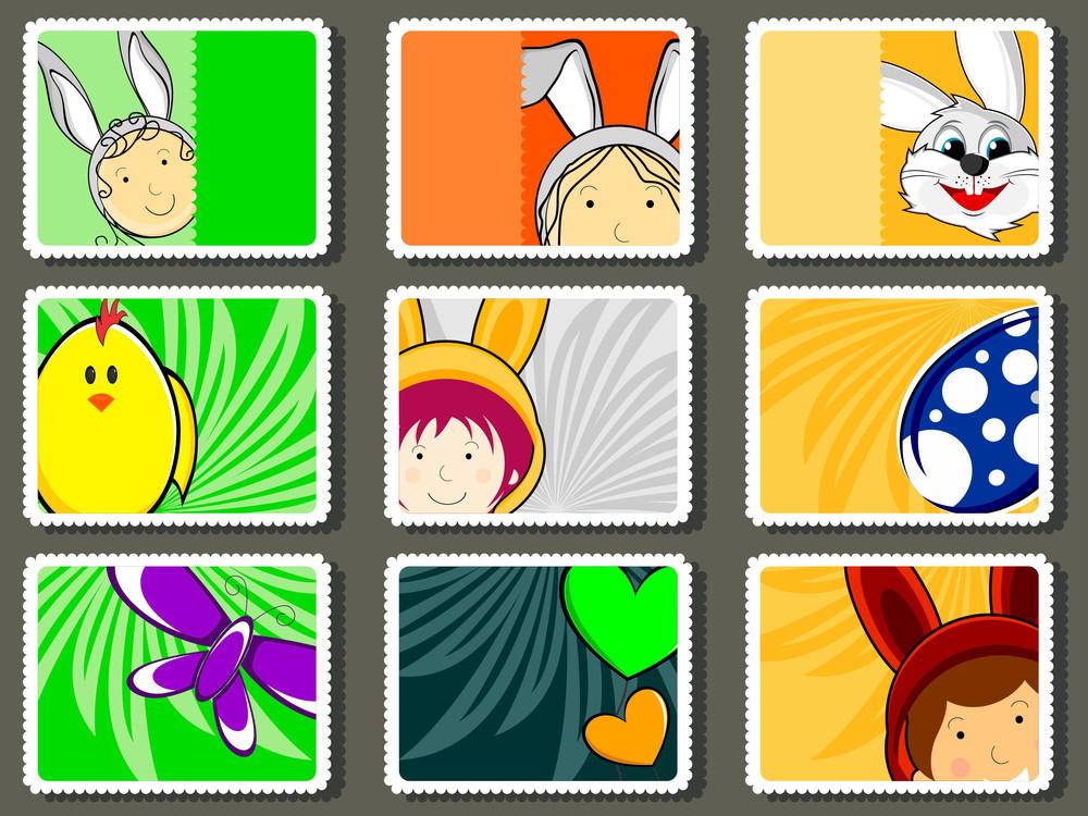 Set Of Colorful Design Stamp For Easter