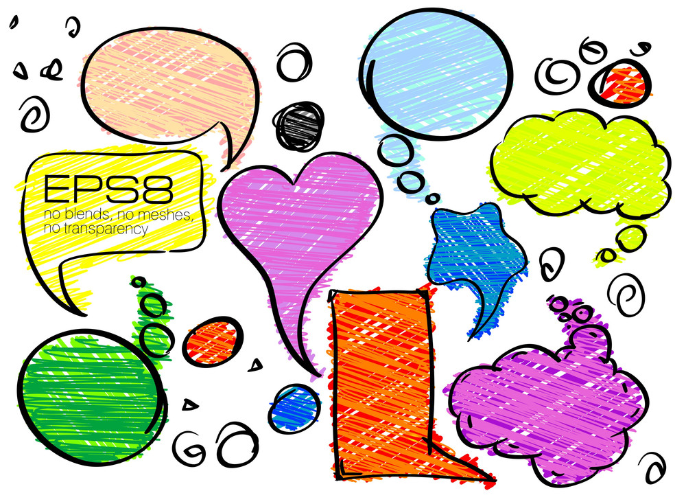 Set Of Colorful Speech Vector Bubbles.