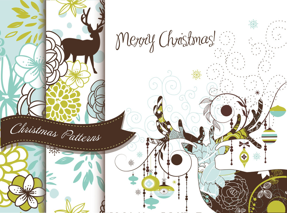 Set Of Creative Christmas Patterns With Deers And Flowers