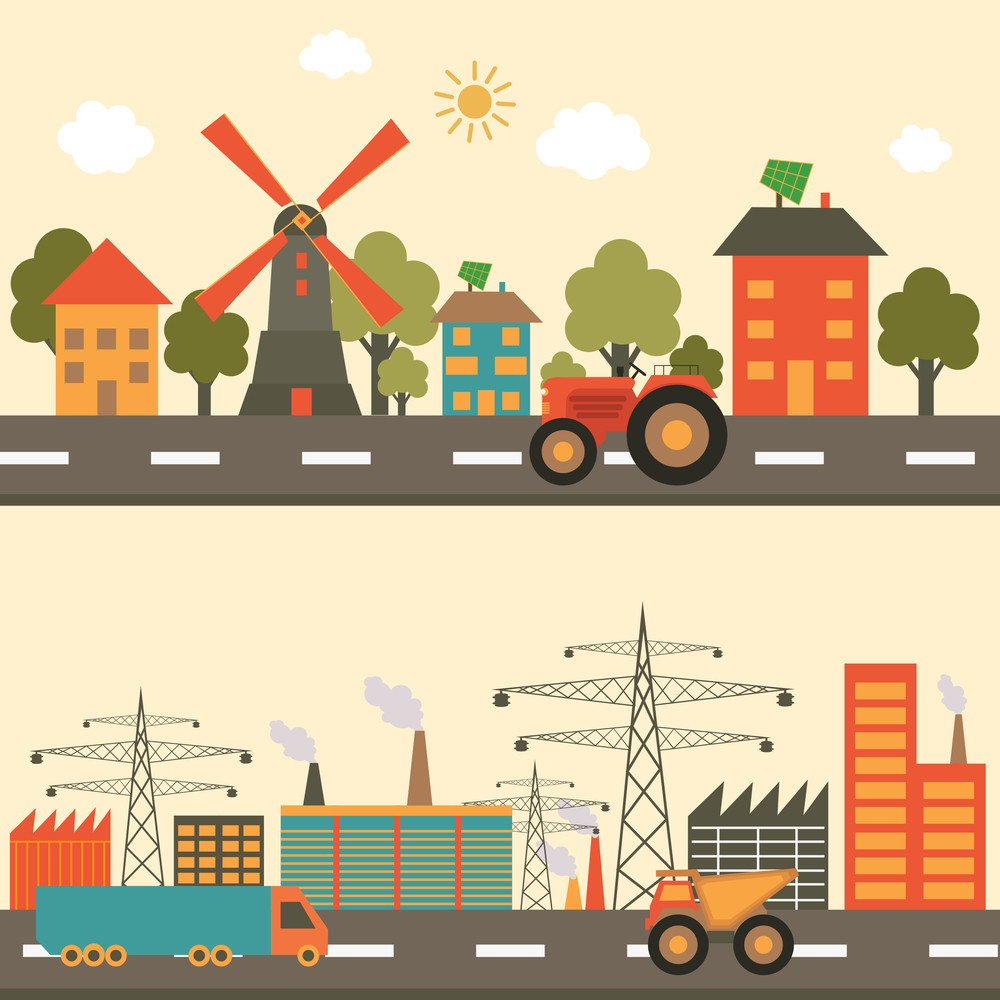 Set of creative ecological infographic elements with city and road view for presentation.