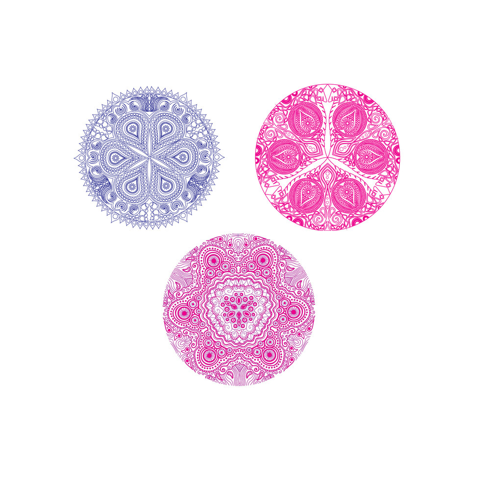 Set Of Cute Circle Ornament Laces In Pink