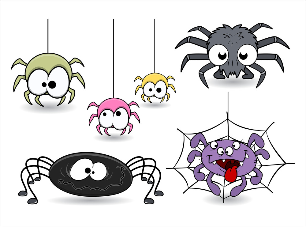 Set Of Cute Funny Cartoon Spiders Vectors Royalty-Free Stock ...