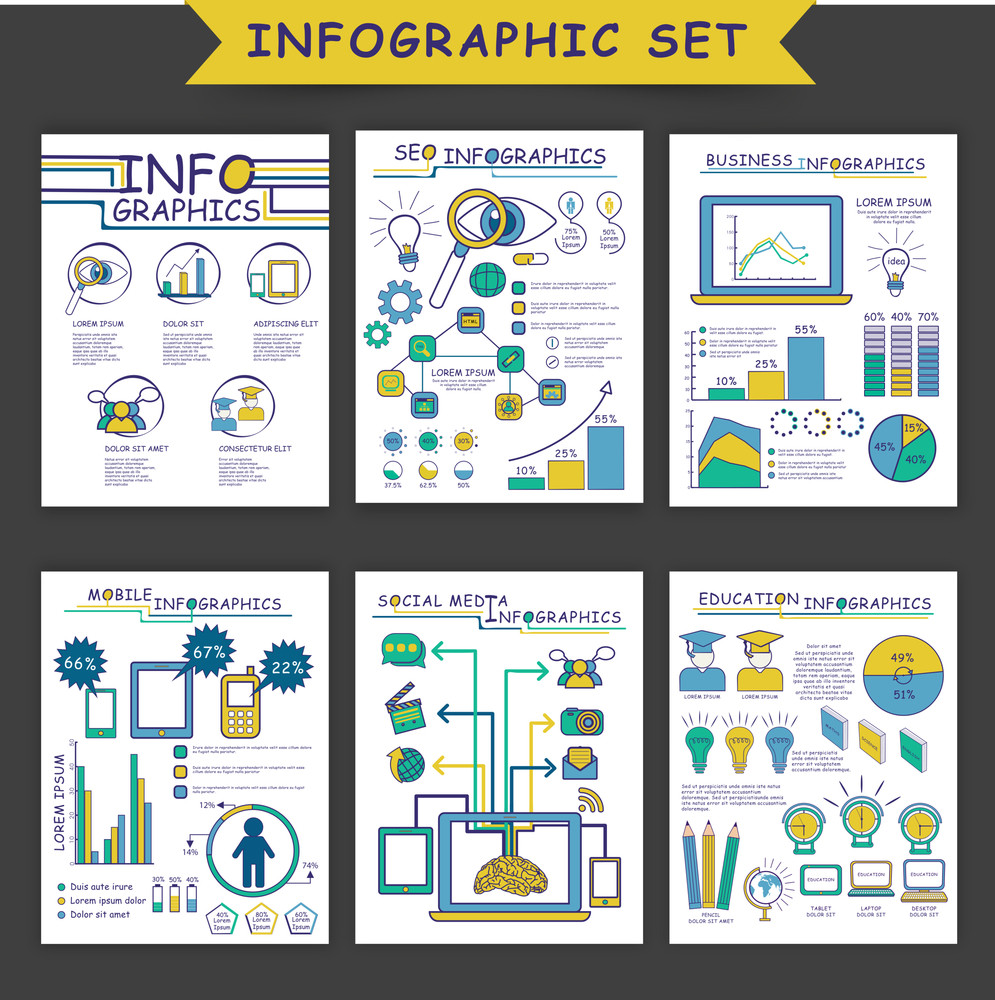 Set of different infographic templates as SEO Infographics