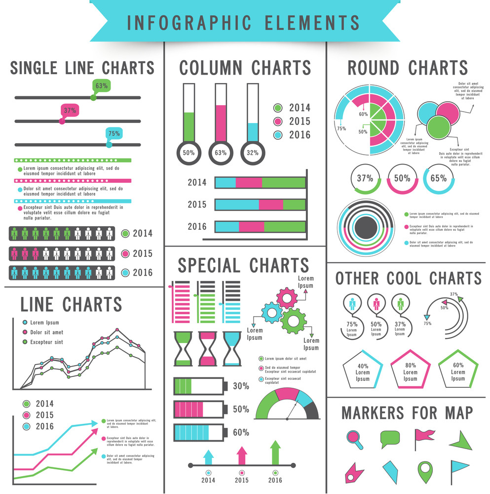 set of different statistical charts and graphs infographic elements