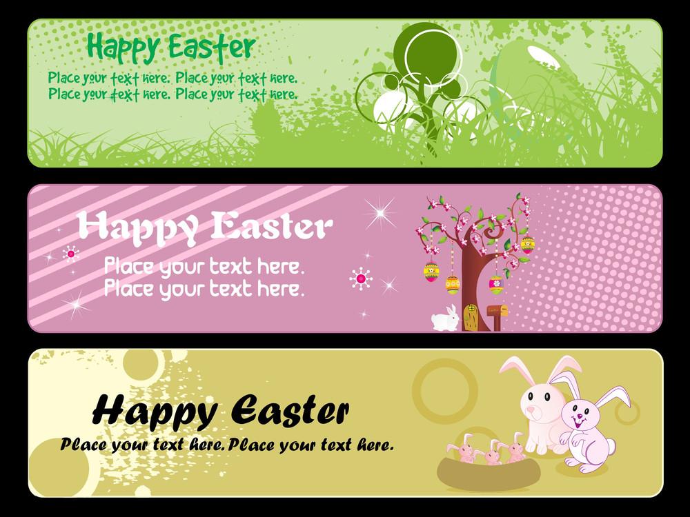 Set Of Easter Banner